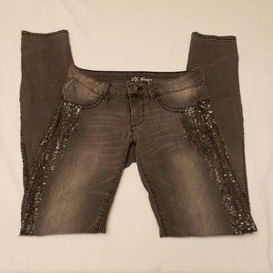 VS Siren Gray Sequin Skinny Jeans